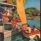 """1953 United States Brewers Foundation Ad """"Picnic on the Bay""""  2617"""