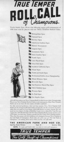 "1937 True Temper Ad ""Roll Call Of Champions"""