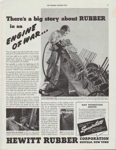"""1942 Hewitt Rubber Ad """"There's a big story about Rubber in an Engine of War"""""""