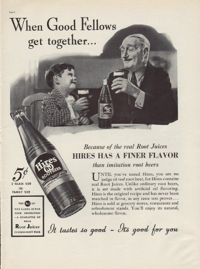 """1937 Hires Root Beer Ad """"Good Fellows"""""""