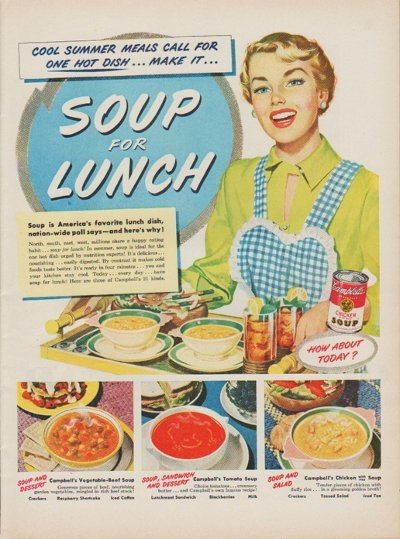 """1950 Campbell's Soup Ad """"Cool Summer Meals"""""""