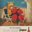 """1949 Four Roses Whiskey Ad """"First-class passenger"""""""