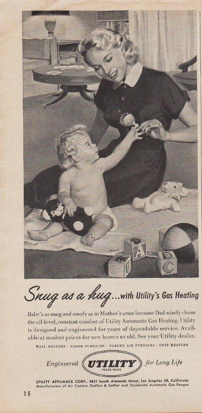 """1953 Utility Appliance Ad """"Snug As A Hug"""""""