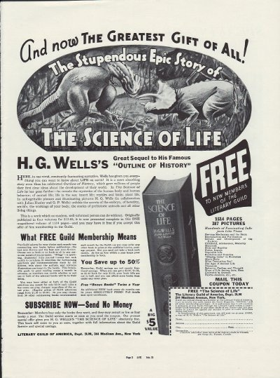"""1937 Literary Guild Of America Ad """"The Science Of Life"""""""