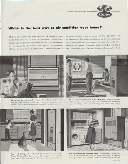 """1957 Carrier Air Conditioner Ad """"Which is the best way"""""""