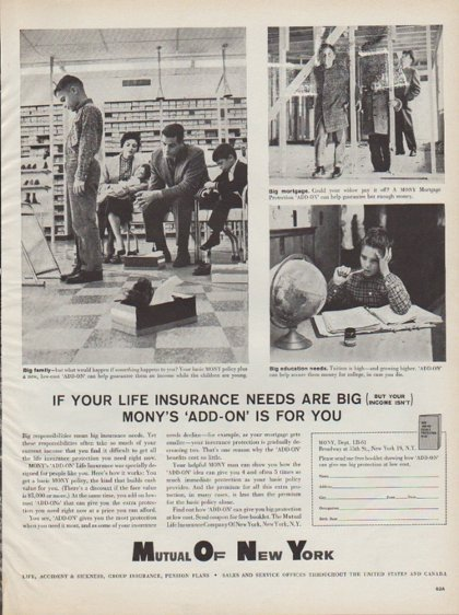 "1961 Mutual Of New York Ad ""Mony's 'Add-On' Is For You"""