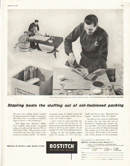 "1956 Bostitch Ad ""beats the stuffing"""