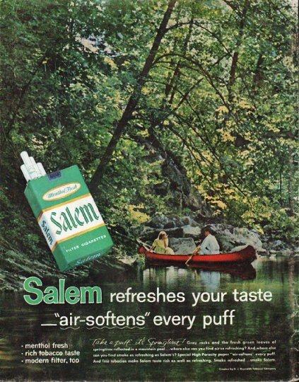 "1961 Salem Cigarettes Ad ""air-softens"""