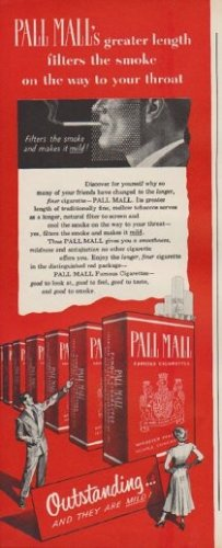 "1949 Pall Mall Ad ""filters the smoke on the way to your throat"""