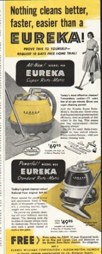 "1956 Eureka Cleaner Ad ""Nothing cleans better"""
