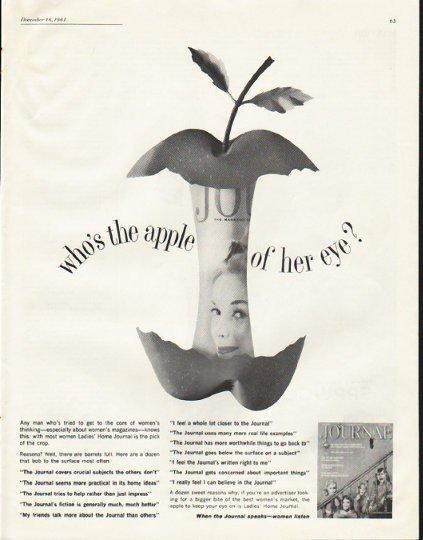 "1961 Ladies' Home Journal Ad ""apple of her eye"""