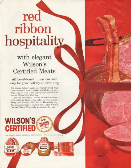 """1961 Wilson's Certified Meats Ad """"red ribbon hospitality"""""""