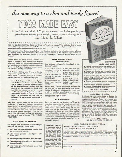 "1965 Yoga Made Easy Ad ""slim and lovely figure"""