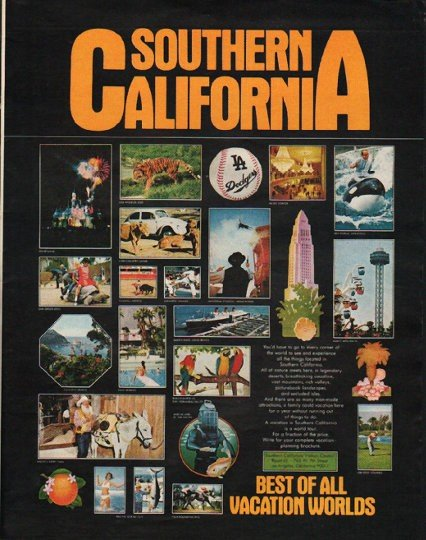 """1972 Southern California Travel Ad """"Vacation Worlds"""""""