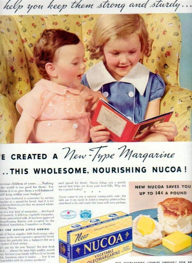 "1937 Nucoa Margarine Ad ""Keep Them Strong"""