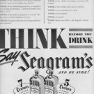 "1937 Seagram's Ad ""Think Before You Drink"""