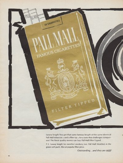 """1967 Pall Mall Cigarettes Ad """"Luxury Length!"""""""