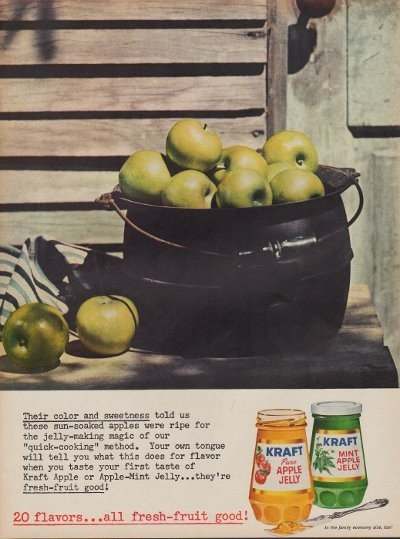 """1960 Kraft Apple Jelly Ad """"Color and Sweetness"""""""