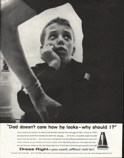 "1958 American Institute of Men's and Boy's Wear Ad ""Dad"""