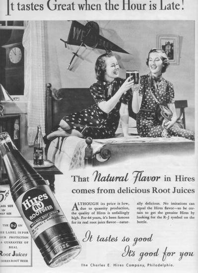 "1937 Hires Root Beer Ad ""It Tastes Great"""