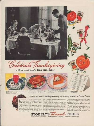 "1937 Stokely's Finest Foods Ad ""Thanksgiving"""