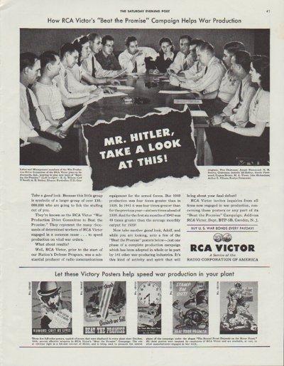 "1942 RCA Victor Ad ""Mr. Hitler"""