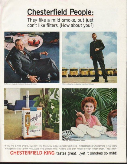 """1964 Chesterfield Cigarettes Ad """"Chesterfield People"""""""