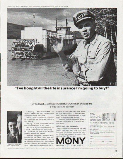 """1965 Mutual Of New York Ad """"all the life insurance"""""""