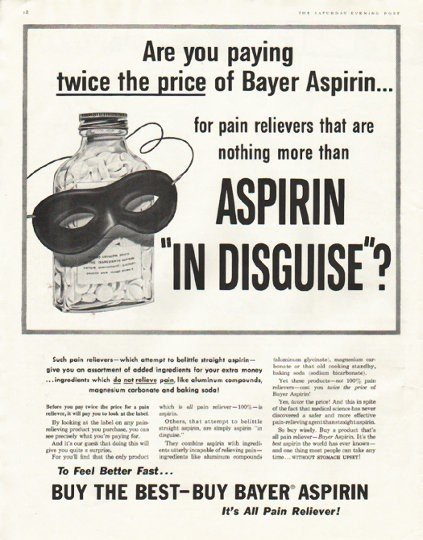 "1956 Bayer Aspirin Ad ""twice the price"""
