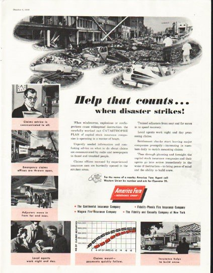 """1956 America Fore Ad """"Help that counts"""""""