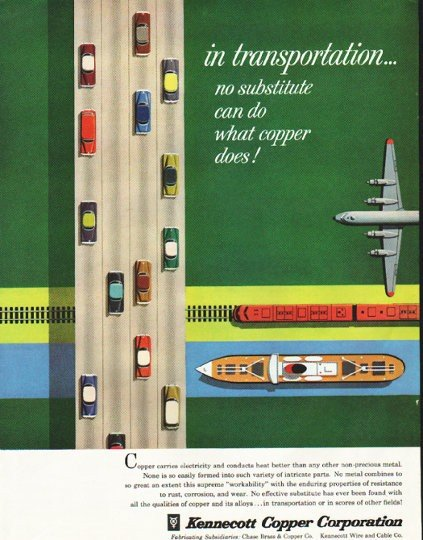 "1956 Kennecott Copper Ad ""in transportation"""