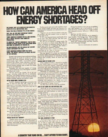 "1972 The Oil Companies Of America Ad ""Energy Shortages"""