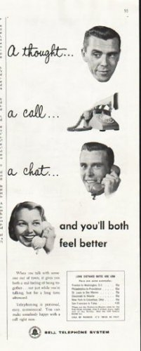 "1956 Bell Telephone System Ad ""A thought"""