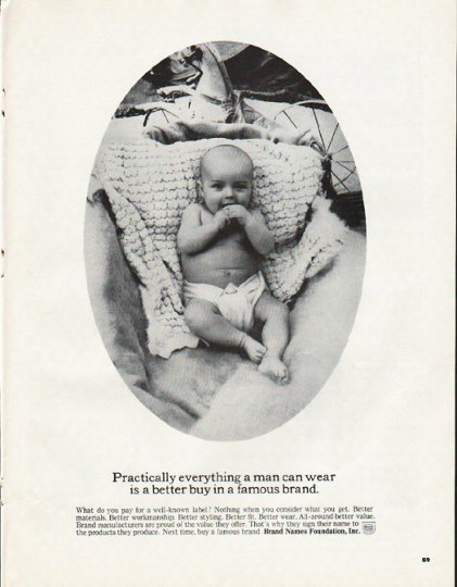 "1965 Brand Names Foundation Ad ""Practically everything"""