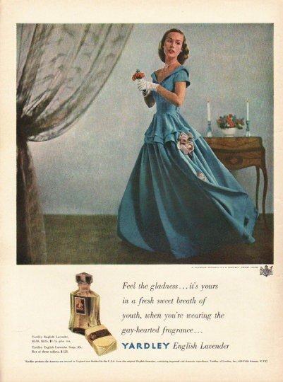 "1948 Yardley Perfume Ad ""Feel the gladness"""