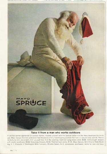 "1961 Mayo Spruce Ad ""a man who works outdoors"""