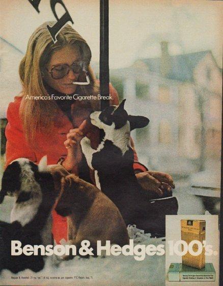 """1971 Benson & Hedges Cigarettes Ad """"Cigarette Break"""""""