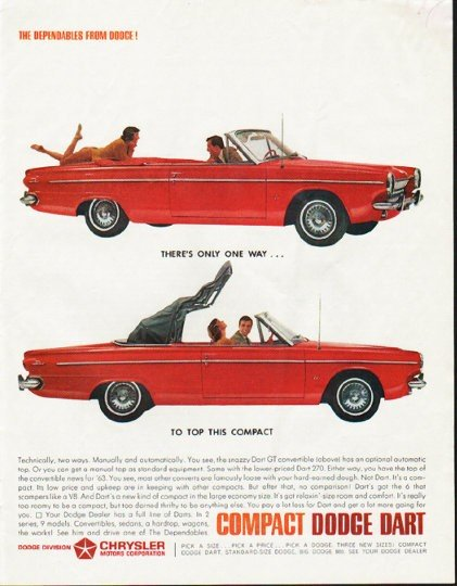 """1963 Dodge Dart Ad """"There's only one way"""" ~ (model year 1963)"""
