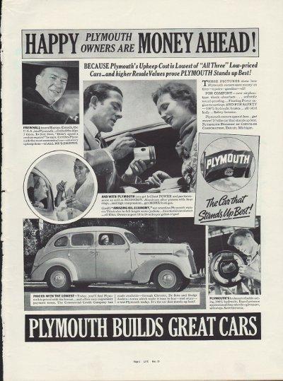"1937 Plymouth Ad ""Money Ahead!"""