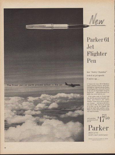 """1960 Parker Pens Ad """"Jet Flighter Pen"""""""
