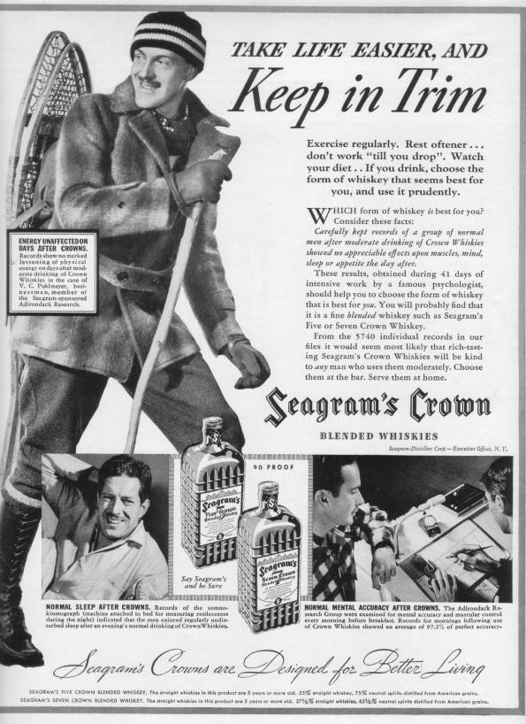 "1937 Seagram's Crown Ad ""Keep In Trim"""