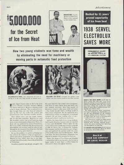 """1938 Servel Electrolux Ad """"Ice From Heat"""""""