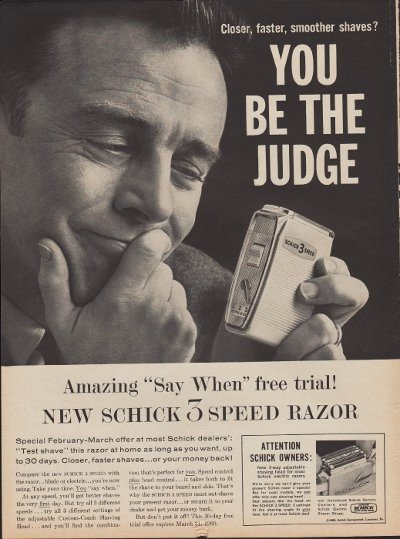 """1960 Schick Electric Razor Ad """"You be the judge"""""""
