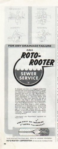 "1965 Roto-Rooter Ad ""any drainage failure"""