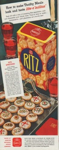 "1942 Ritz Ad ""How to make Thrifty Meals"""