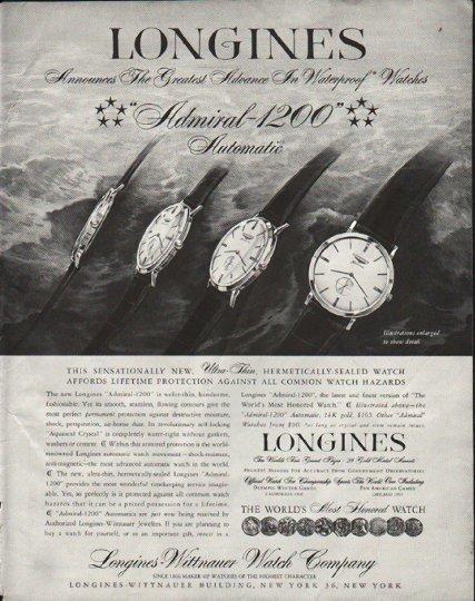"1958 Longines-Wittnauer Watch Ad ""Waterproof"""