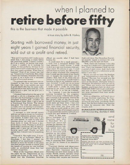 """1972 Duraclean International Ad """"retire before fifty"""""""