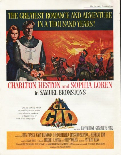 1961 El Cid Ad ~ Charlton Heston and Sophia Loren