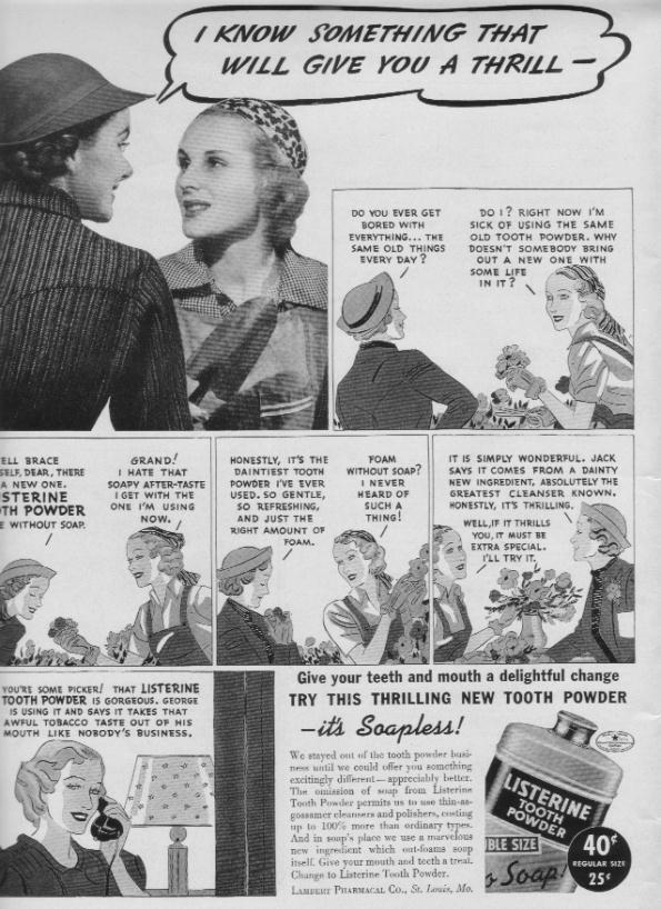 "1937 Listerine Tooth Powder Ad ""A Thrill"""