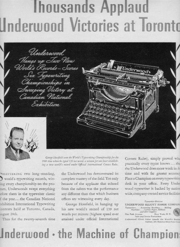 "1937 Underwood Typewriter Ad ""Champions"""